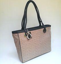 New Rrp 495 Oroton Handbag Tote Large Shoulder Bag Navy Taupe Leather