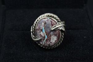 Handmade *BISBEE RIBBON* Turquoise + Sterling Silver Ring, Navajo