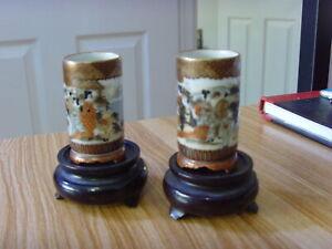 very nice small set  of satsuma vases