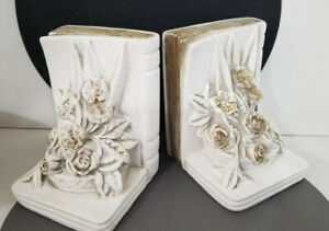 Bookends  White and Gold Roses Universal Statuary Bazemore Vault Vintage 1960s