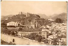Italie, Sicile, château fort, lieu et ville à identifier  vintage albumin print