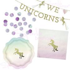UNICORN PARTY SET - Plates, Napkins, Garland & Confetti - 'We Love Unicorns'