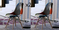 Patchwork Style Chair 2 Vintage Fabric Seat Retro Dining Set Funky Office Lounge