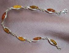 Bracelet argent sterling 925 et ambre multicolore