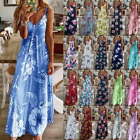 UK Womens Pullover CAMI Sundress Maxi Beach Loose Ladies Floral Long Slip Dress