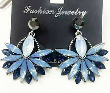 2016 New Fashion Blue Crystal Rhinestone Ear Drop Dangle Stud Earrings Gift 856