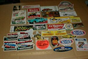 Vtg old Funny Car NHRA Dragster John Force drag racing hot rod decal sticker Lot