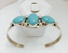 Native American Sterling Silver Navajo Handmde Turquoise Cuff Bracelet