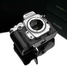 GARIZ Genuine Leather Nikon Df Half Case + Gun-Shot Strap Set Black For Nikon DF