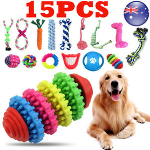 15X Dog Toys Bundle Chew Rope Knot Ball Squeakers Pet Puppy Teething AU