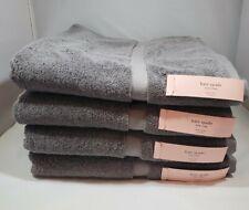 "Kate Spade Harrington Bath Towels 30"" X 56"" Set Of 4 Gray 100% Cotton Nwt"