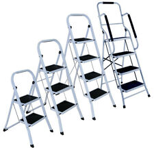 More details for 2/3/4 step ladders portable compact folding metal ladder stool heavy duty steel