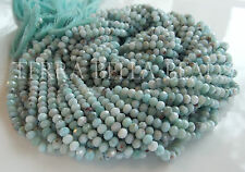 "13"" genuine LARIMAR faceted gem stone rondelle beads 3.5mm blue calibrated"