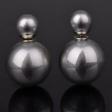 Double Ball Beads Unique Silver Plated Solid Two Sides Ear Stud Earrings Pin