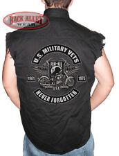 POW MIA MILITARY Sleeveless Denim Shirt Biker Cut Vest Never Forgotten USA VETS