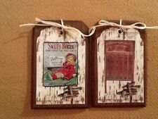 5 PRiM WOODEN Vintage Laundry Room Ornaments/Hang Tags/ORNIES/GiftTags SET::1