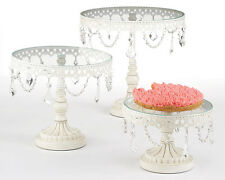 Set of 3 White Cake Stands with Hanging Jewels