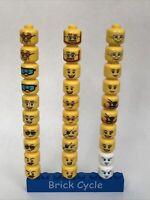 Lego 30 x Minifigure Heads Head Yellow White Girl Boy Male Female Joblot Bundle