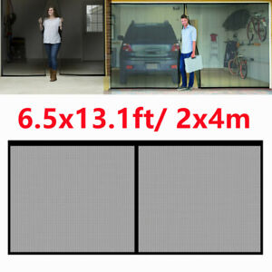 【6.5x13.1ft】Garage Door Screen Single Magnetic Closure Bottom Insects Bugs Mesh