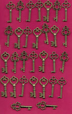 SKELETON KEYS SET OF 30 DIFFERENT STYLES,VINTAGE STYLE KEY REPLICAS ANTIQUE BRON