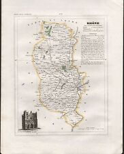 1841 ANTIQUE MAP MONIN FRANCE H/COL - DEPARTMENTS, RHONE LYON VILLEFRANCHE