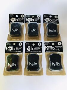 Lot of 6 HELLO Activated Charcoal Infused Floss - Natural Peppermint Flavor