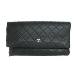 Authentic CHANEL Clutch bag matelasse logo lambskin Black Used CC Coco SHW