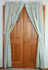 2 Croscill Yellow Blue Floral Stripes Curtain Lined Panels 2 Tiebacks 41 x 85