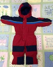 L.L. Bean size 6-12 month Snowsuit Red Blue one piece snow suit with grow-cuffs