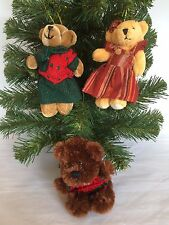 "3 Christmas Teddy Bears Tree Hanging Ornaments Girl Boy Brown Clothed 5"" High"