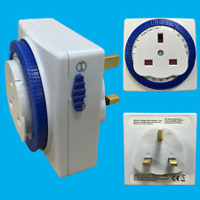 24 Hour Segment Timer Switch, Programmable On/Off Function, UK Mains 3-pin Plug