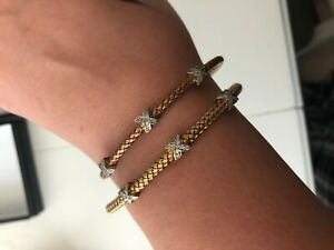 MESHMERISE PETITE X BANGLE 2 piece set rose & yellow gold diamond $750+!!! OFFER