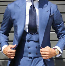 Light Blue Double Breasted Vested Suits Mens Tuxedo Groom Wedding Peak Lapel