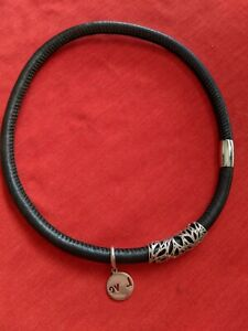 EMMA & ROE BY MICHAEL HILL  HAND MADE LEATHER CHOKER WITH SILVER LOCK DIA 12 CM