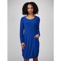 Nina Leonard Long Sleeve Dress with Elasticated Hem/Front Pockets Deep Sea XS