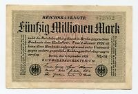 Old Germany 50 Million Mark Reichsbank Note date 1923 German Inflation Money