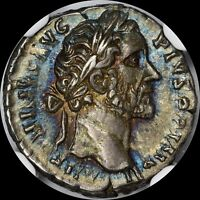 ROMAN EMPIRE ANTONIUS PIUS AD 138 AR DENARIUS NGC CH XF UBER TONED ANCIENT COIN