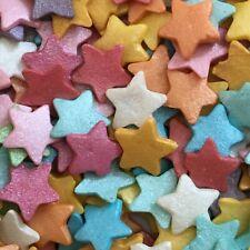 JUMBO RAINBOW GLIMMER STARS -12mm Edible Sugar Cupcake Sprinkles Cake Decoration