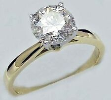 0.75CT (G COLOR) DIAMOND ROUND CUT SOLITAIRE ENGAGEMENT RING 14K 2 TONE GOLD
