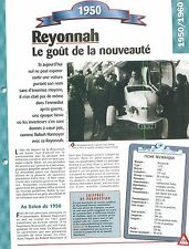 Reyonnah 1950  France Car Auto FICHE FRANCE