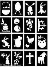 32 x Easter Glitter Tattoo stencils chicks, eggs, lambs, ducks, flowers etc