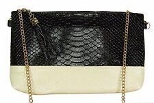 BEIGE & BLACK ANIMAL GENUINE LEATHER 2-tone handbag clutch,shoulder bag,wristlet