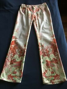 Authentic Roberto Cavalli Flower Boot Cut Jeans Size M Pre-owned Italy