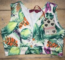 Boohoo Crop Top Size 10 Floral Jungle Print White Green New with Tags