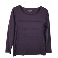Ann Taylor Tiered Long Sleeve Shirt Size L Purple Scoop Neck Cotton Blend Top
