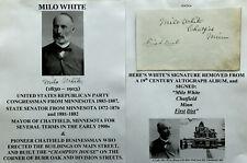 1880s CONGRESSMAN SENATOR MAYOR CHATFIELD MN PIONEER MILO WHITE AUTOGRAPH SIGNED