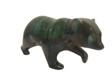 More details for beautiful blue pottery drip glaze walking polar bear figure vintage collectible