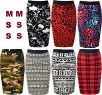 Ladies Print Elastic Waist Pencil Body-con Stretch New Women's Midi Skirt 8 - 26