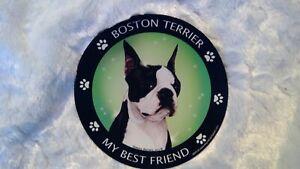 "Round Car Magnet Dog  ""My Best Friend""  Dachshund Chihuahua Boston Terrier Boxer"