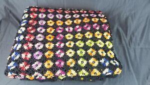 VTG Handmade Crocheted Afghan Blanket Colorful Throw Flowers Retro approx. 80x70